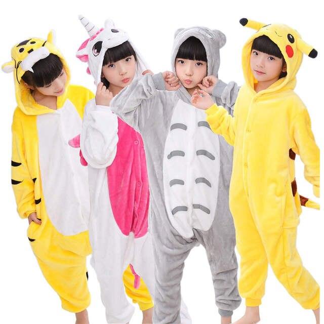 16bd31f0016781 Crianças Pijama para meninas Meninos sleepwear Totoro Pikachu Panda  crianças Unicórnio Gato Porco Stitc Bebê pijama animal Pijamas das crianças