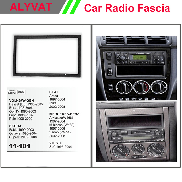 US $12 99 |Car CD DVD Radio mounting stereo install trim installation 2 Din  dash kit for SKODA/VOLKSWAGEN/ MERCEDES BENZ/VOLVO/SEAT-in Fascias from