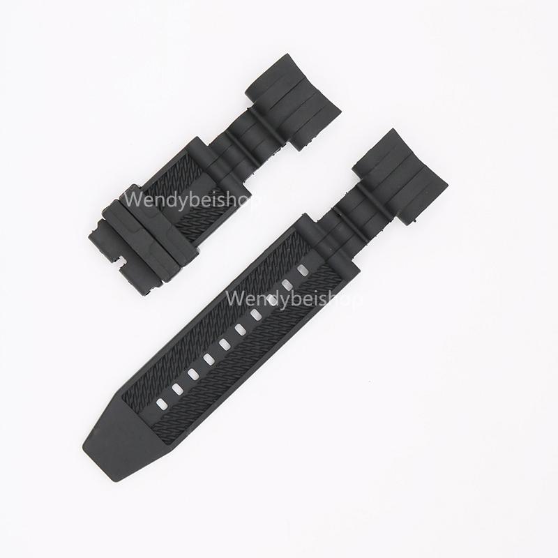Prix pour 26mm (26mm Boucle Fin) date Style Hommes Femmes Bracelet Noir Haute qualité Polysulfure Silicone Montre-Bracelet En Caoutchouc Bande Ceinture Sangle