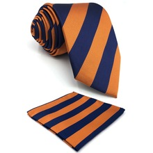 E27 Blue Orange Striped Mens Ties Wedding Silk for Men Bow Tie Pocket Square Set