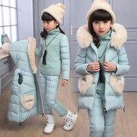 Коллекция 2018 года, зимние комплекты одежды для маленьких девочек, костюмы из 3 предметов, одежда для маленьких девочек, жилет, хлопковое пухо