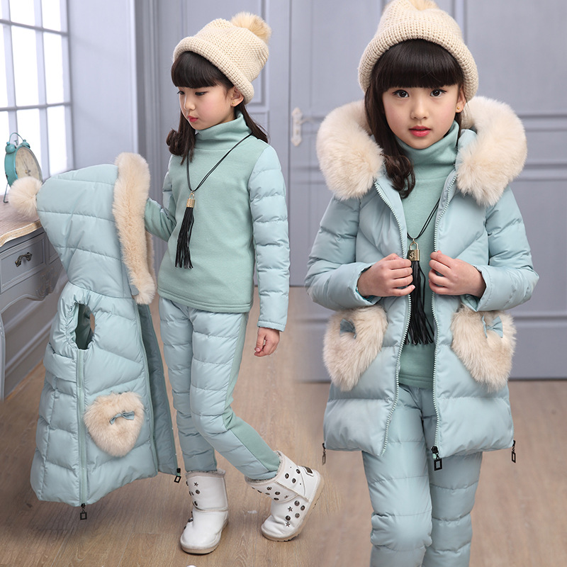 2018 Winter Baby Girls Clothing Sets 3 Pcs Suits Toddler Girls Clothes Vest Cotton Down Coat + Sweatshirts + Thick Pants Outfits цена 2017