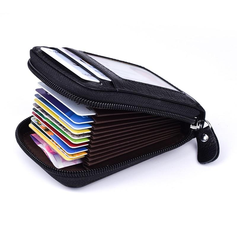 Кошелек из натуральной кожи с блокировкой RFID, держатель для кредитных карт, Двойной короткий клатч, кошелек для монет, женский маленький футляр для удостоверения личности|card holder|rfid blockingrfid blocking card holder | АлиЭкспресс