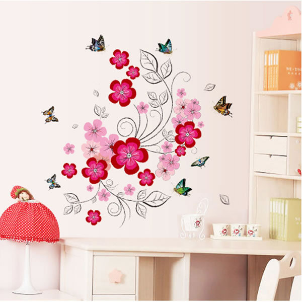 2017 New Pink Flowers Wall Sticker Home Decor Romance Wedding Room