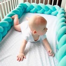 1M/2M Baby Handmade Bed Bumper DIY Newborn Hand-woven Crib Wrap Knotted Pillow Twist Cushion