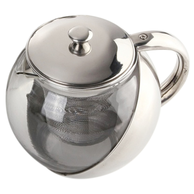 High Quality Modern Stylish Stainless Steel + Glass Teapot With Loose Tea Leaf Infuser Silver Accessories