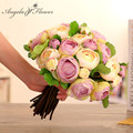 3pcs/lot  cheap colorful silk tea rose DIY wedding flower bride bouquet decorative artificial flowers for home or wedding decor