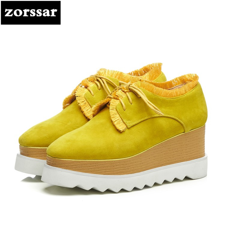 {Zorssar} 2018 New Suede womens Creepers shoes heels Leisure Wedges High heels Platform pumps shoes women shoes big size 41 zorssar brand 2018 new womens creepers shoes heels casual wedges high heels pumps shoes fashion suede women platform shoes