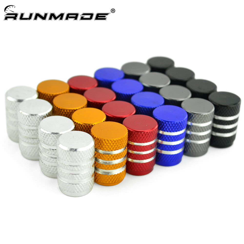 runmade 4x Aluminum Tyre Wheel Stem Air Valve Caps Car Tire Valve Universal Auto Truck Bike Bicycle Dust Dustproof Caps 4pcs universal aluminum car tyre air valve caps bicycle tire valve cap car wheel styling round alloy caps 16 x 10 x 10mm