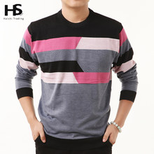HS High Quality New Autumn Winter Dress Striped Cashmere Wool Pullover Men Sweater Brand Casual Shirts O-Neck Clothing S - XXXXL