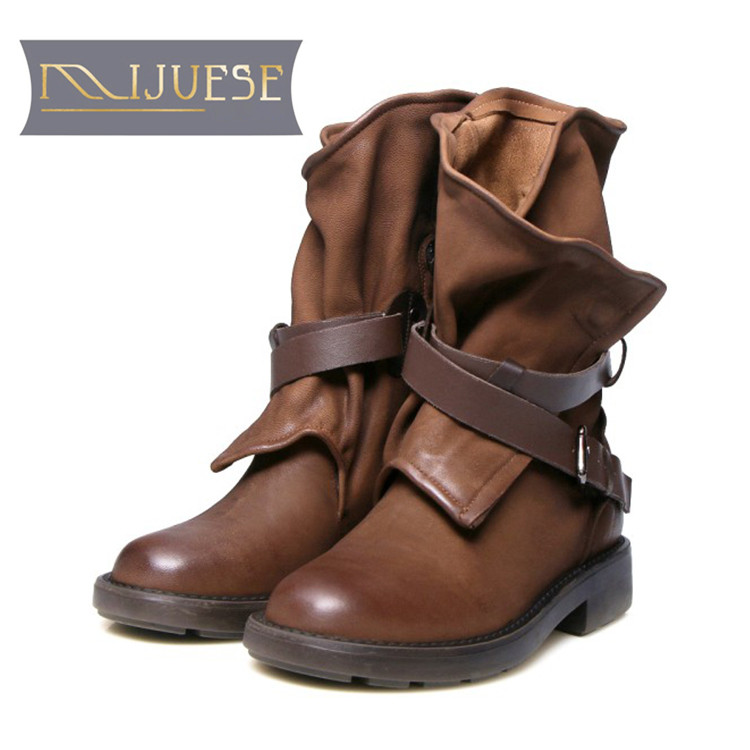 MLJUESE 2019 women ankle boots Sheepskin buckle strap vintage female martin boots winter short plush warm boots size 34-40