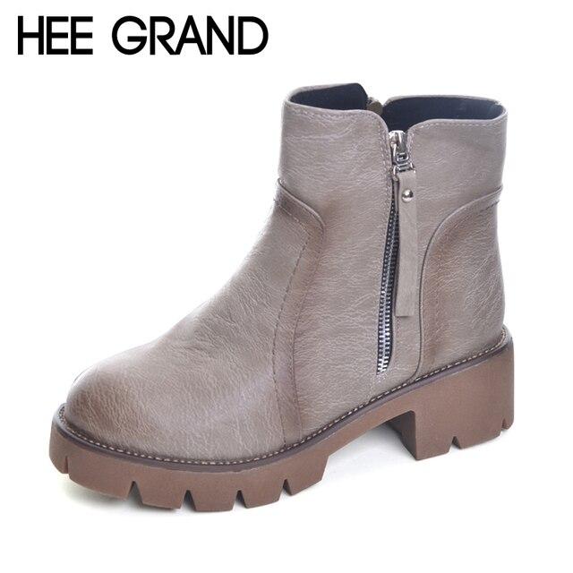 Зимние полусапожки HEE GRAND женские теплые Британский Модная обувь на платформе из искусственной кожи мотоциклетные ботильоны; женская обувь 3 цвета XWX1964