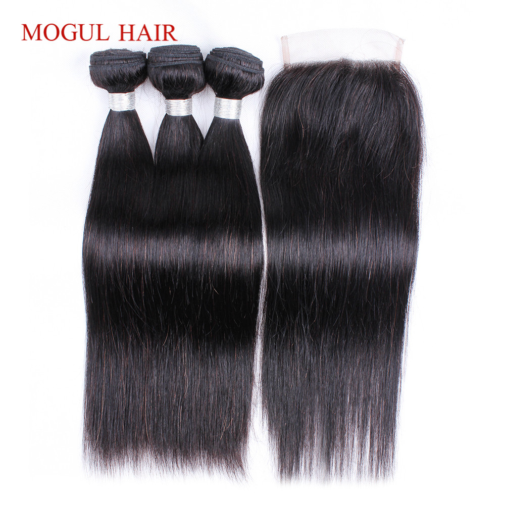 Mogul Hair Indian Straight Hair 3 Bundles With 4x4 Lace Closure Non Remy Human Hair Extensitons Natural Color Free Shipping