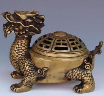 Exquisite Old Chinese Hand-carved Dragon Turtle Brass Incense Burner Censer Statue