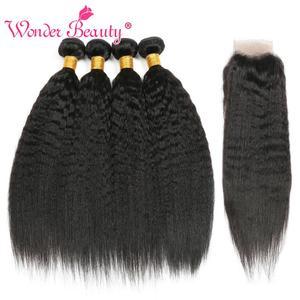 Image 5 - Kinky Straight Hair Bundle With Closure Brazilian Hair Weave Bundlles Wonder Beauty Human Hair Bundles with Closure Non Remy