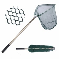 Goture Triangular Landing Net 40x40cm Foldable Fishing Net With Aluminum 3 Section Extending Pole Fishing Network