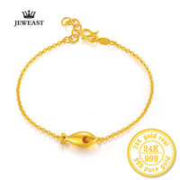 XXX BBB 2017 New 24k Pure Gold Bracelet Female New Fashion Jewelry Smooth Matte Chain Genuine Gold 999 Bracelets & Bangles Belt