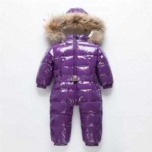 Image 5 -  30 רוסית חורף חליפת שלג פעוט בני בנות 90% ברווז למטה Rompers סרבל ילדי סרבל תינוקות תינוק 1 6 Y Clj311