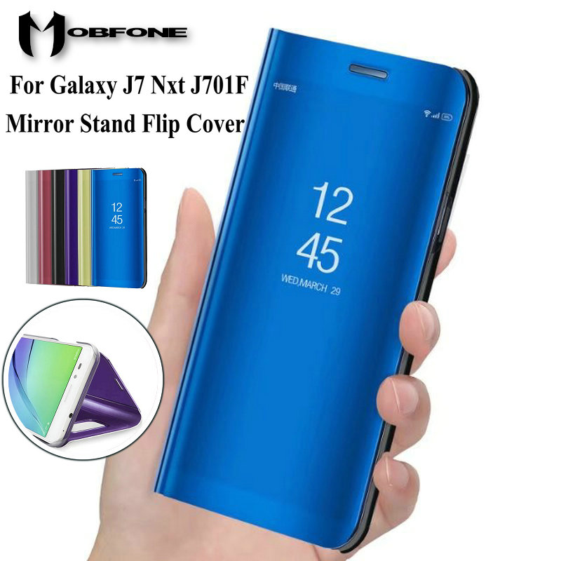 For Samsung Galaxy J7 Nxt J701F Mirror Flip Stand Luxury Plastic Leather Case For Samsung J7 Neo J701M 360 Full Protective Cover