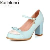 Karinluna Taille 32-45 Classique Mary Jane Style Chunky Haut Talon Chaussures Femme Doux Bowtie Pompes De Mariage De Partie De Bal chaussures