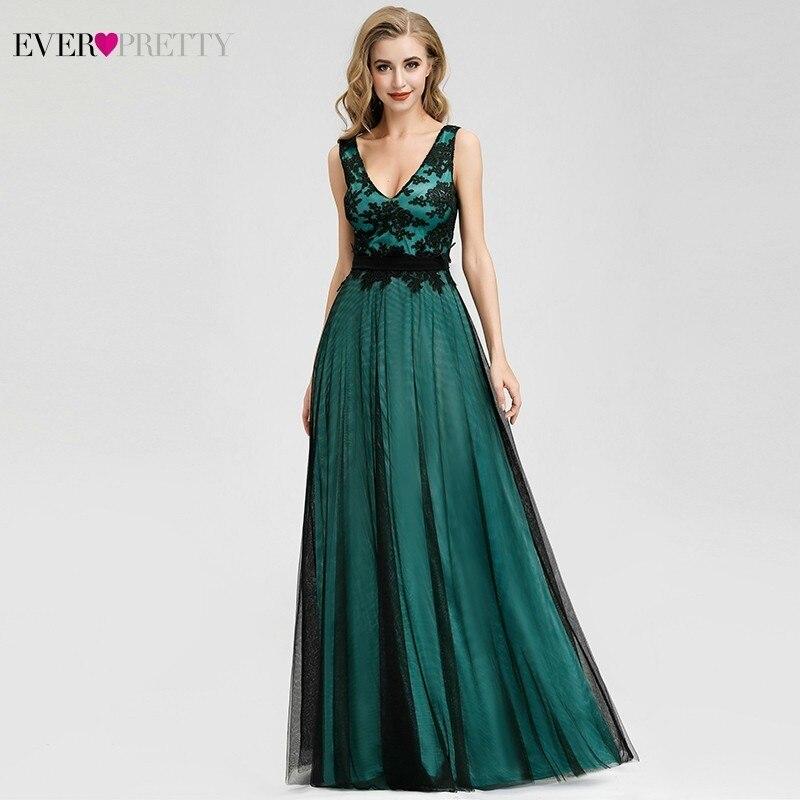 Elegant Dark Green Bridesmaid Dresses Ever Pretty A-Line V-Neck Sleeveless Sexy Dresses For Wedding Party Sukienka Wesele 2020