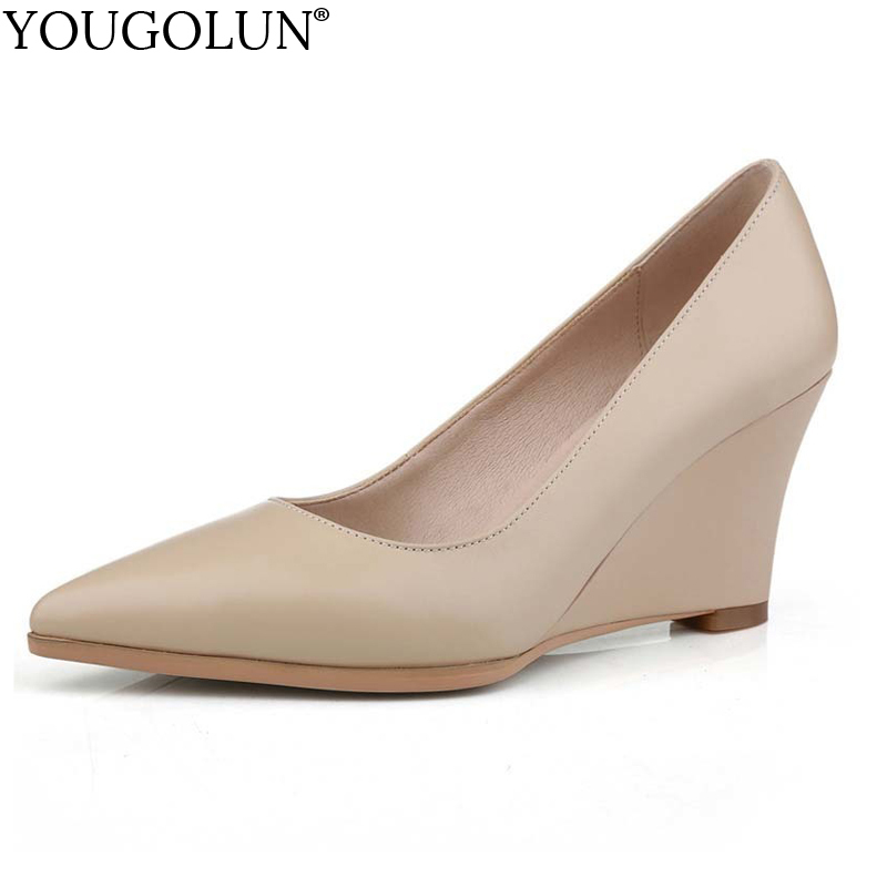 YOUGOLUN Women Wedges Pumps Spring Genuine Cow Leather Wedge Heel 8 cm High Heels Apricot White Ladies Pointed toe Shoes #A-027 genuine cow leather spring shoes wedges soft outsole womens casual platform shoes high heel round toe handmade shoes for women