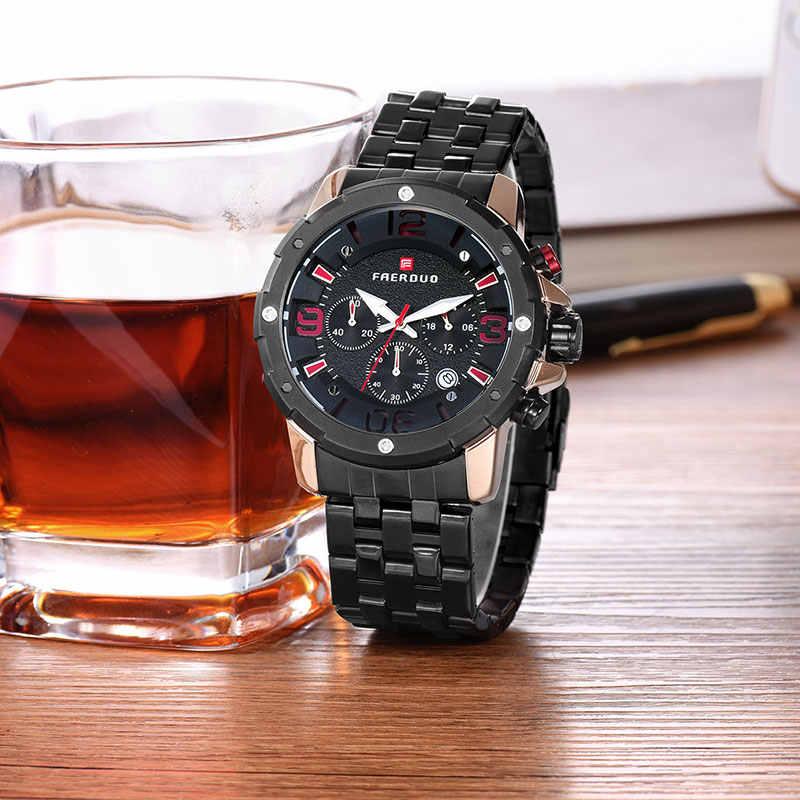 Meteorite negro Acero inoxidable reloj hombres gran hueco 3D Dial cronógrafo deportes hombres relojes de alta marca reloj Masculino de lujo