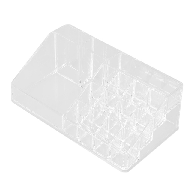 22.3 x 12.7 x 8cm Transparent Crystal Cosmetic Organizer Makeup Jewelry Lipstick Stand Case Brush Insert Holder Box Useful