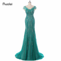 Real Picture 2017 Green Mermaid Evening Dresses Scoop Sequined Embroidery Tulle Prom Dress Long Evening Party