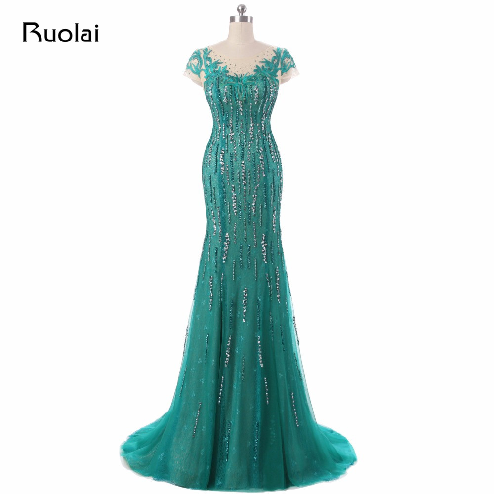 Real Picture 2019 Green Mermaid   Evening     Dresses   Scoop Sequined Embroidery Tulle Prom   Dress   Long   Evening   Party   Dress   ASAE43
