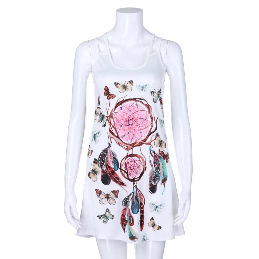 Yaz elbisesi 2019 Kollu Rahat Kadın Yaz Vintage Kolsuz 3D Çiçek Baskı Bohe Tankı Kısa Mini Elbise vestidos # N05