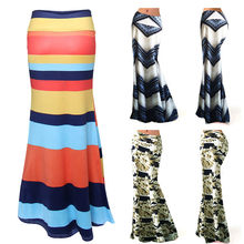 25d5f9db1267de New Fashion Women Long Gypsy Skirts High Waist Maxi Skirts Stretch Full  Length Summer Casual Skirt
