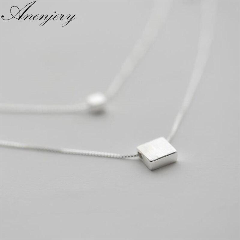 Anenjery argent 925 bijoux Double couche boîte carrée Simple collier pour femmes tour de cou S-N194