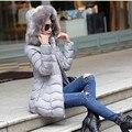 2016 Moda mulheres parka Longo Inverno Para Baixo Jaqueta de Algodão Fino Casaco Com Capuz De Pele Elegante casaco de algodão Ocasional de Manga Comprida WomenCoat
