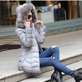 2016Fashion parka women Long Winter Down Jacket Cotton Slim Overcoat Fur Hooded Elegant Casual cotton coat Long Sleeve WomenCoat