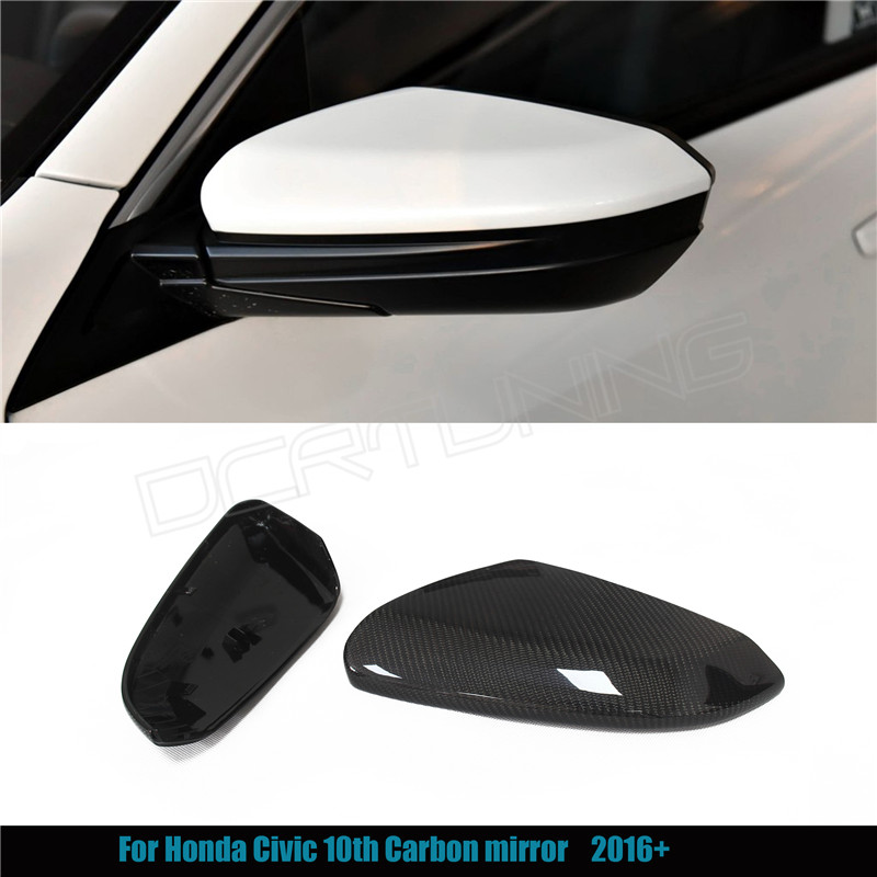 ФОТО  1 : 1 Replacement style & Add on style For Honda Civic 10th Carbon Fiber Rear View Mirror Cover Car-styling 2016 - UP