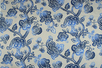 1 Meter 100 Cotton Canvas Fabric With Blue Retro Floral Curtain Sofa Back Cushion Table Cloth
