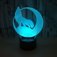 늑대 3d 밤 램프 7 색 터치 led 비주얼 테이블 현대 책상 램프 선물 분위기 led 스테레오 조명 테이블 램프