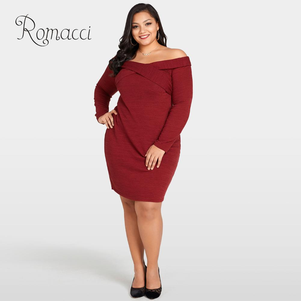 Romacci Sexy Women 5XL Plus Size Dress Off The Shoulder Cross Front Long Sleeve Autumn Dress Slim Bodycon Midi Dress Burgundy-in Dresses from Women's Clothing on AliExpress - 11.11_Double 11_Singles' Day 1
