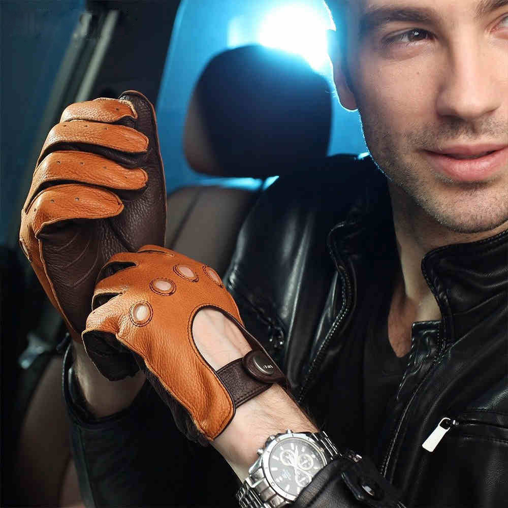 High end leather driving gloves - High Quality Genuine Leather Men Gloves Luxurious Breathable Driving Deerskin Gloves Wrist Buckle Full Finger
