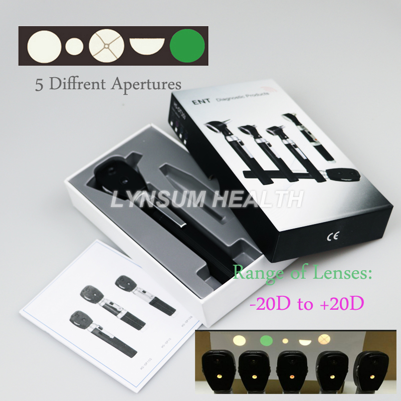New CE Medical Professional Oftalmoscopio 5 Different Apertures Eye LED Diagnostic Kit Ophthalmic Direct Portable Ophthalmoscope