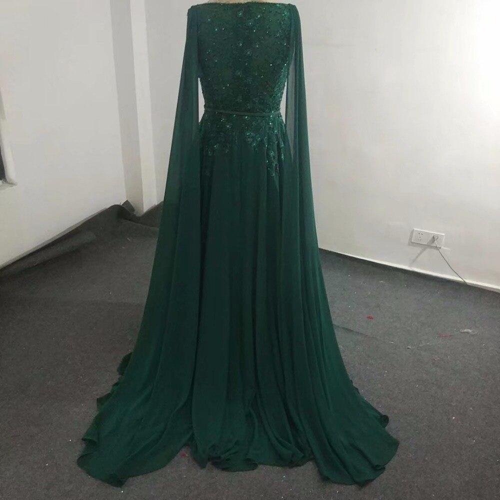 Elie_Saab robe de demoiselle d'honneur vert noirâtre perspective bretelles transparentes col en V longueur Court train cristal perlé mousseline de soie - 4