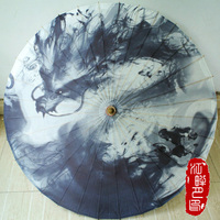 Large Ink Dragon Parasols Handmade Chinese Bamboo Umbrella Wedding Supplies Handmade Painting Colors Paper Umbrella