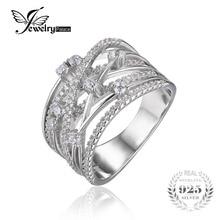 Jewelrypalace banda ancha de lujo ronda cubic zirconia anillo de cóctel para las mujeres genuinas plata de ley 925 joyas de regalo de boda