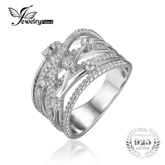 Jewelrypalace luxo rodada cubic zirconia banda larga anel cocktail para mulheres genuine 925 prata esterlina jóias do presente de casamento