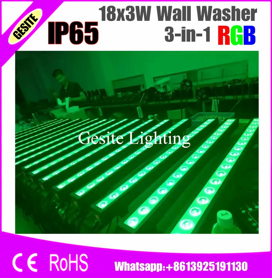 ip67 Smart 4pcs/lot Rgb Linear Bar Wall Washer Led Light 18x3w 3in1 Leds 40 Degree Multicolor Outdoor Waterproof Special Summer Sale