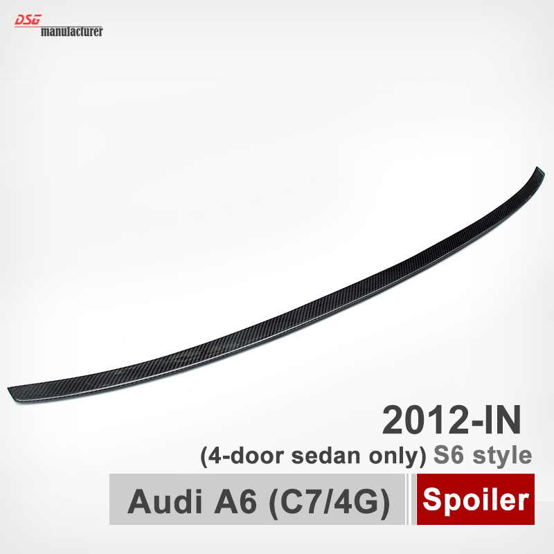 Carbon Fiber A6 C7 S6 Style Spoiler Rear Trunk Back Wing For Audi A6 C7 4G Only Fit For 4-Door Sedan 2012 - IN for audi a6 c7 4g carbon rear spoiler s6 style a6 carbon fiber rear spoiler rear trunk wing 2012 2013 2014 2015 2016 2017 up