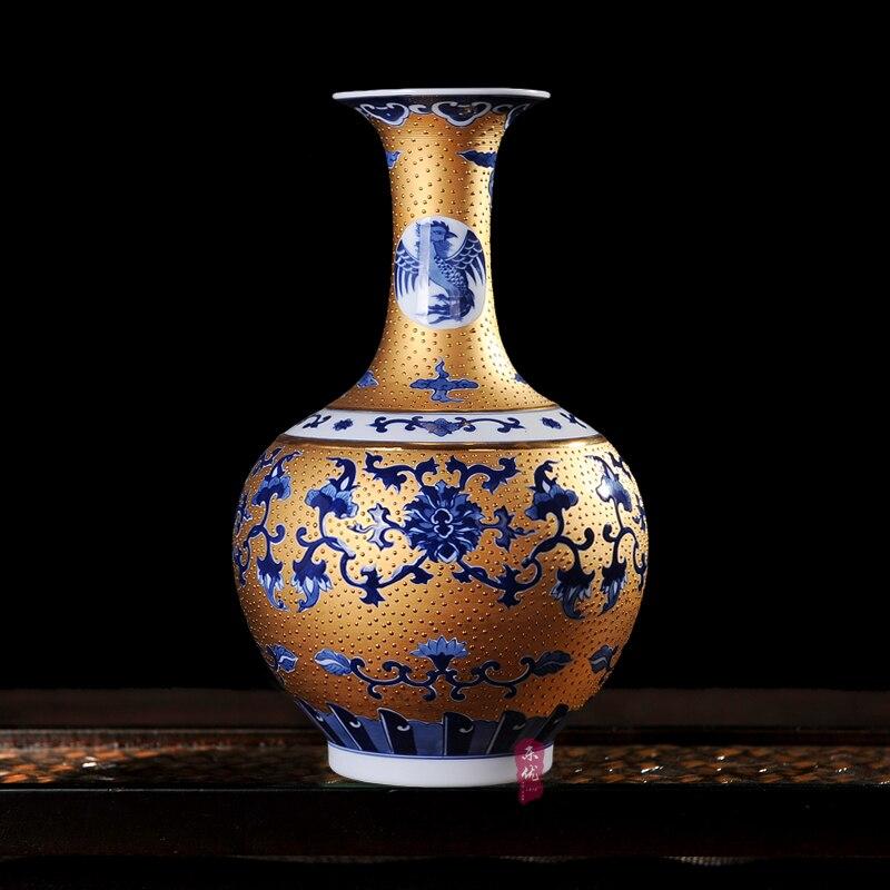 Jingdezhen céramique or porcelaine vase vase huit moderne mode décoration chambre décoration technologie
