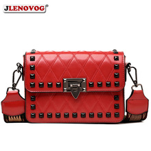 Womens Fashion Rivets Crossbody bag Luxury Brand Quilted leather Shoulder Bags Female Red Punk Wide Strap Street Handbags Purse