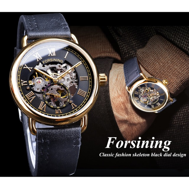 Forsining Classic Black Golden Openwork Watches Skeleton Mens Mechanical Wristwatches Top Brand Luxury Black Genuine Leather 2